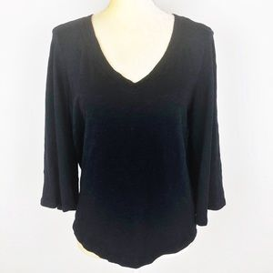 Anthropologie Meadow Rue Black Bell Sleeve Top